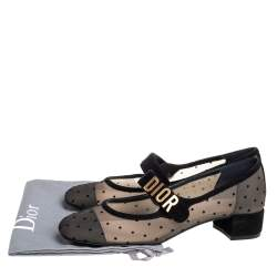 Dior Black Suede And Mesh Baby-D Mary Jane Pumps Size 38