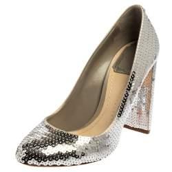 Dior Silver Sequin Block Heel Pumps Size 38