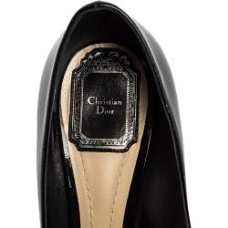 Dior Black Patent Leather Buckle Bow Pumps Size 37.5
