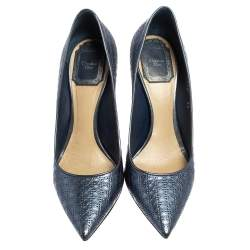 Dior Metallic Blue Cannage Leather Cherie Pointed Toe Pumps Size 36
