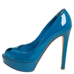 Dior Blue Patent Leather Miss Dior Peep Toe Platform Pumps Size 37.5