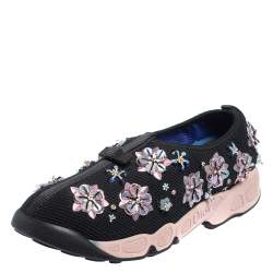 Dior Black Mesh Embellished Fusion Slip On Sneakers Size 37.5