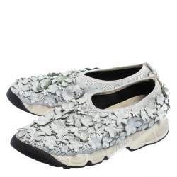 Dior White Mesh And Leather Fusion Floral Applique Sneakers Size 39