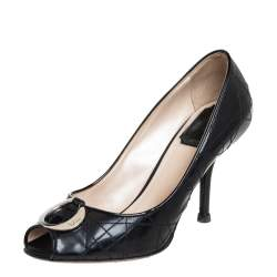 Dior Black Cannage Patent Leather Metal Logo Peep Toe Pumps Size 36