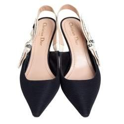 Dior Black Fabric J'Adior Pointed Toe Slingback Sandals Size 38