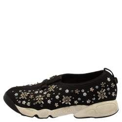 Dior Black Mesh Fusion Floral Embellished Slip On Sneakers Size 39