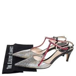 Dior Multicolor Lizard Embossed Leather Strass Slingback Pointed Toe Sandals Size 38.5