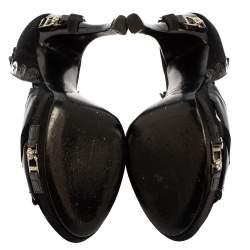 Dior Black Patent Brogue Leather Peep Toe Pumps Size 37