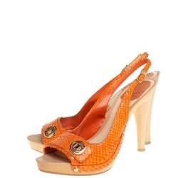 Dior Orange Python Embossed Leather Slingback Sandals Size 38