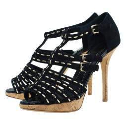 Dior Black Suede Stitched Antica Platform Sandals Size 39.5