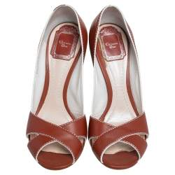 Dior Brown Leather Criss Cross Cannage Heel Peep Toe Pumps Size 37.5