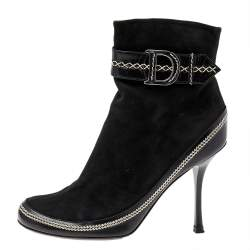 Dior Black Suede And Leather CD Logo Ankle Boots Size 37