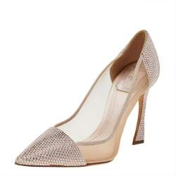 Dior Beige Crystal Embellished Suede And Mesh Pointed Toe Pumps Size 36.5