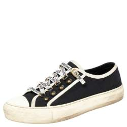 Dior Black/White Canvas  Walk'n'Dior Low Top Sneakers Size 39
