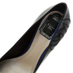 Dior Black Leather and Blue Suede Rose Detail Peep Toe Platform Pumps Size 37.5