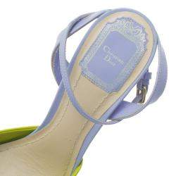 Dior Multicolor Patent Leather and Python Ankle Strap wedge Sandals Size 37.5