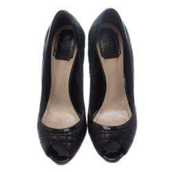Dior Black Cannage Leather Peep Toe Pumps Size 39.5