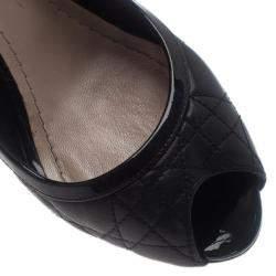 Dior Black Cannage Leather Peep Toe Pumps Size 39.5