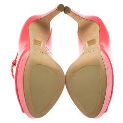 Dior Pink Patent Miss Dior Peep Toe Platform Pumps Size 37