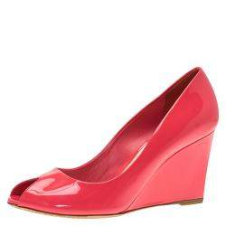 Dior Candy Pink Patent Peep Toe Wedge Pumps Size 38.5