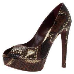 Dior Burgundy Python Leather Peep Toe Pumps Size 37