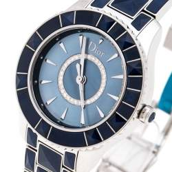 Dior Blue Mother of Pearl Stainless Steel Christal CD143117 Women's Wristwatch 33MM