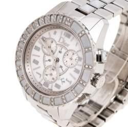 Dior White Stainless Steel Diamonds Christal CD114311 Women's Wristwatch 38 mm