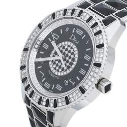 Dior Black Stainless Steel Diamond Christal CD115511 Women's Wristwatch 42 mm