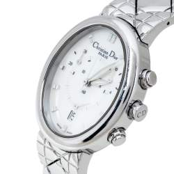 Christian Dior Mother Of Pearl Stainless Steel Chronograph D88-100 Women's Wristwatch 29 mm