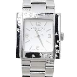Dior Silver Stainless Steel Diamond Riva D98-1014 Women's Wristwatch 25 MM