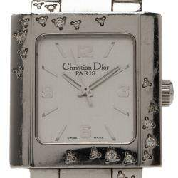 Dior White Stainless Steel Christal Women's Wristwatch 38MM