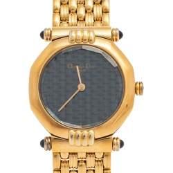 Chrstian Dior Blue Gold Plated Stainless Steel Depose 64151 Women's Wristwatch 25 mm