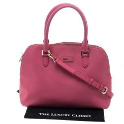 DKNY Pink Leather Dome Satchel