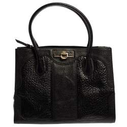 DKNY Black Textured Leather Middle Zip Tote