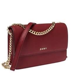 Dkny Red Leather Bryant Park Shoulder Bag