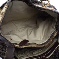 Dkny Brown/Black Signature Canvas and Leather Studded Satchel