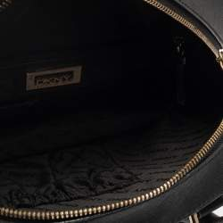 DKNY Black Leather Front Pocket Dome Satchel