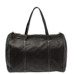 DKNY Black/Dark Brown Signature Coated Canvas and Leather Duffle Bag