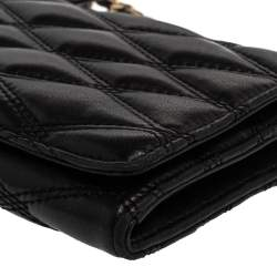 DKNY Black Quilted Leather Flap Wallet On Chain
