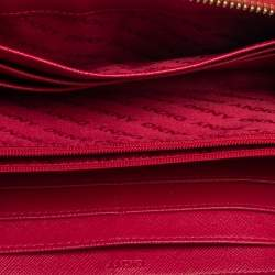 DKNY Red Leather Zip Around Wallet
