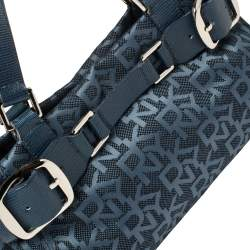 Dkny Blue Signature Canvas and Lizard Embossed Leather Satchel