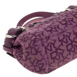 Dkny Purple Signature Canvas and Lizard Embossed Leather Satchel