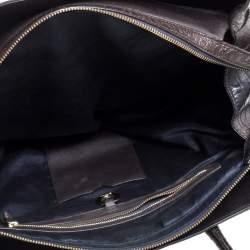Dkny Dark Brown Croc Embossed Leather Zipped Satchel