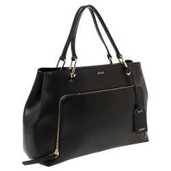 Dkny Black Saffiano Leather Bryant Park Front Pocket Satchel