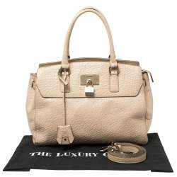 DKNY Cream Grained Leather Padlock Satchel