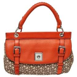 Dkny Orange/Beige Signature Canvas and Leather Top Handle Bag