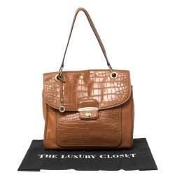 DKNY Brown Croc Embossed and Leather Turnlock Flap Top Handle Bag