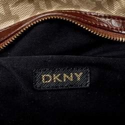 Dkny Beige/Brown Monogram Canvas and Croc Embossed Leather Turnlock Pocket Satchel