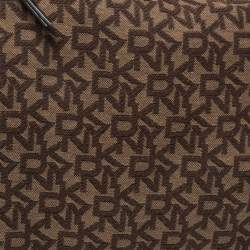 Dkny Brown Leather And Canvas Monogram Hobo