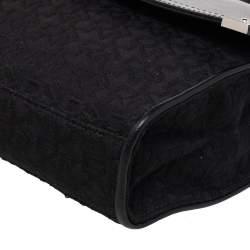 Dkny Black Signature Canvas And Leather Flap Shoulder Bag